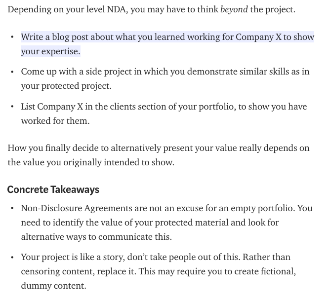 How to show NDA protected work on your online portfolio.