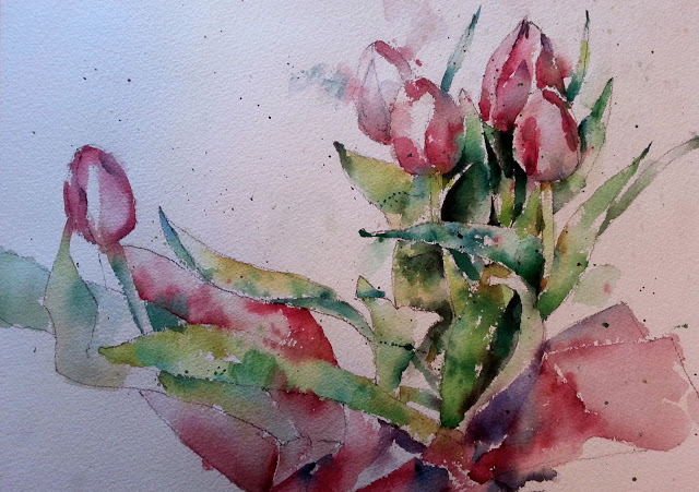 Watercolor Tulips Wetcanvas Challenge