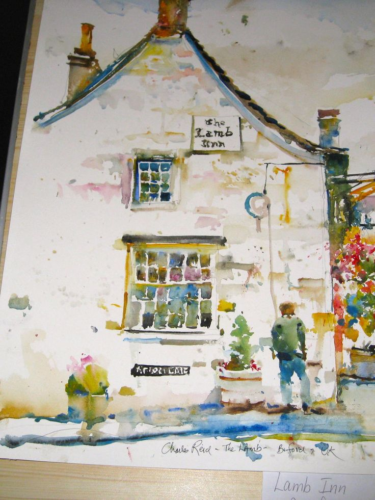 Charles Reid sketch of The Lamb Inn in Burford, UK