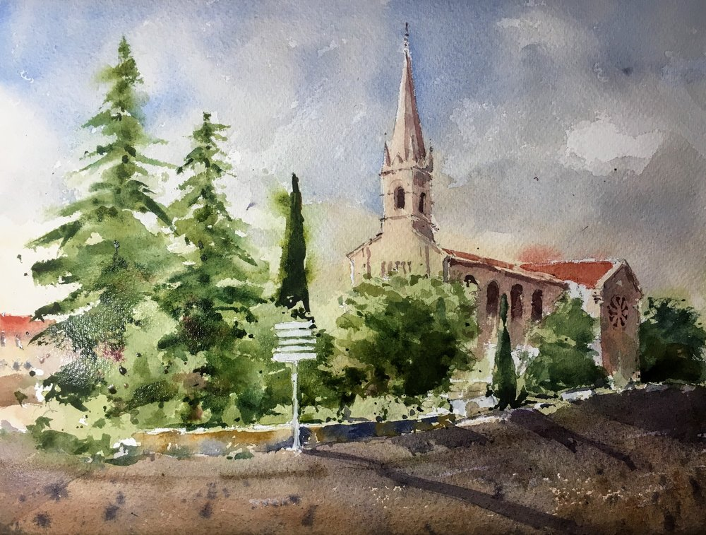 "Michele Clamp - French village number 6. Watercolor on paper, 11""x14"", 2018"