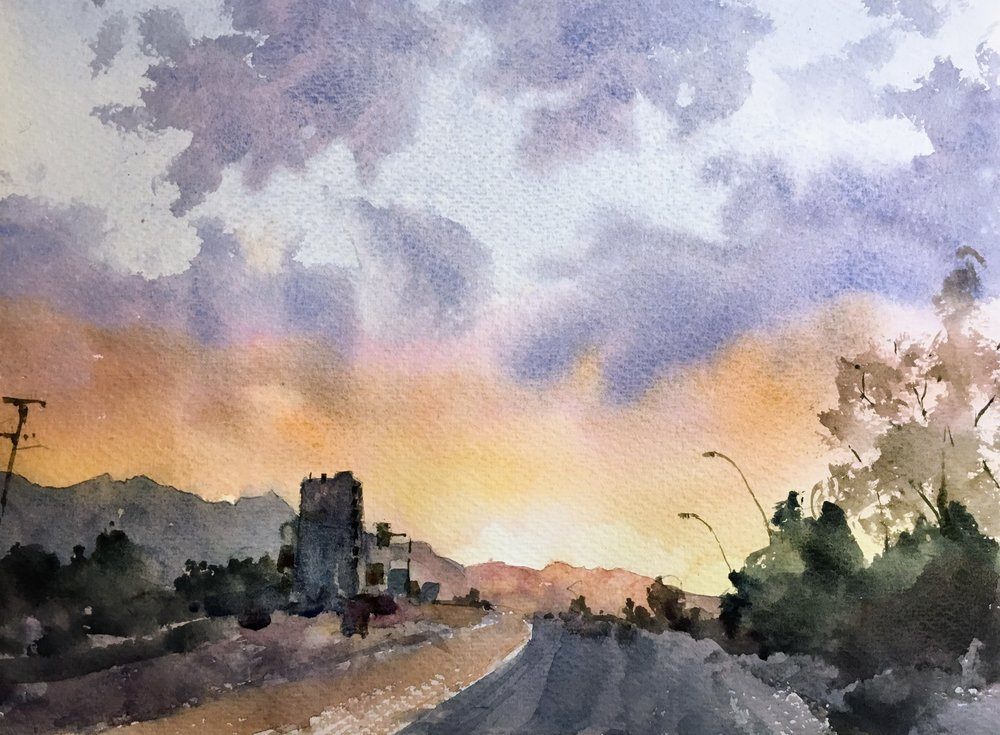 "Sunset on the highway.  Michele Clamp.  11""x14"". Watercolor on 200lb Bockingford"