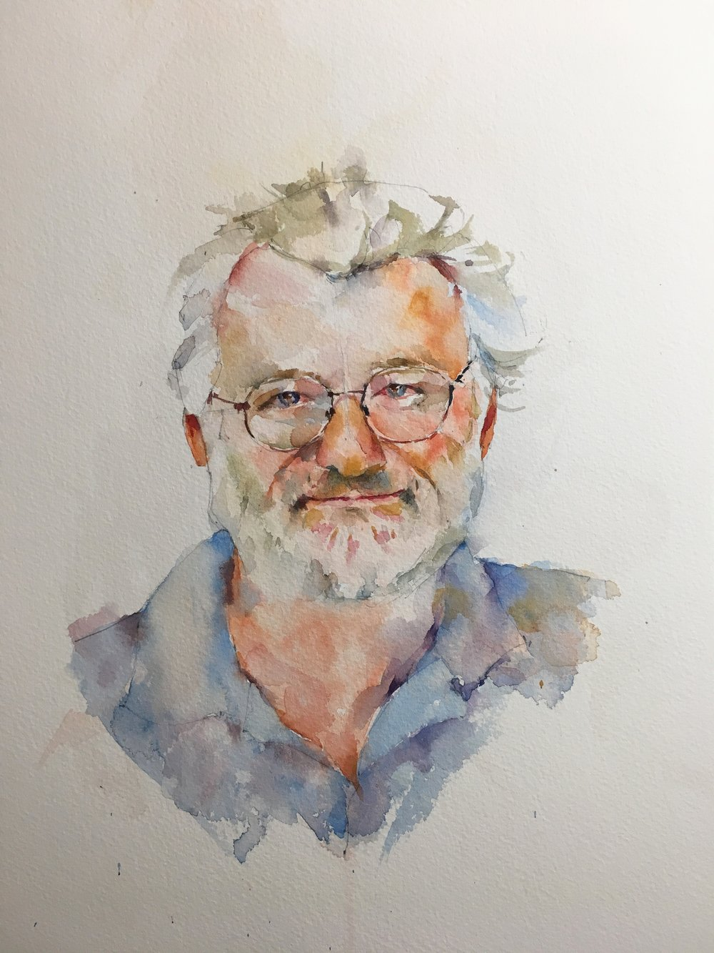 "Portrait of John Sulston.  Watercolor by Michele Clamp.  14""x11"" on Saunders Waterford 200lb CP."
