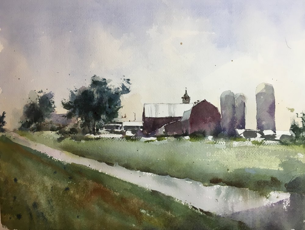 "Vermont Barn, near Monkton.   Watercolor by Michele Clamp.  11""x14""."