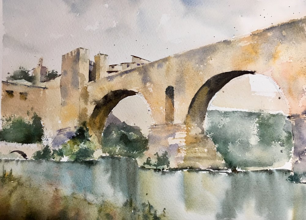 Pont de Besalu. Michele Clamp watercolor.