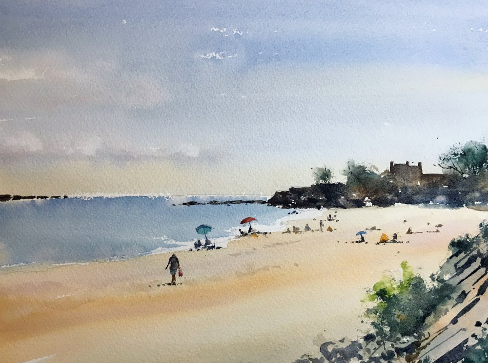 "Singing Beach, Manchester-by-the-Sea. Michele Clamp. Watercolor 11""x14"""