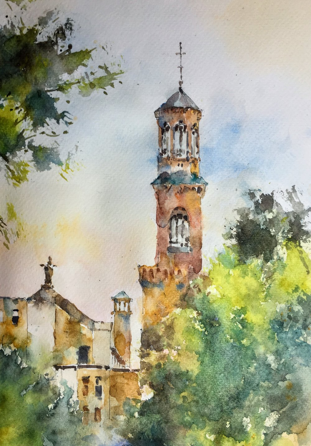 "Church of St Paul, Cambridge MA. Michele Clamp watercolor. 10""x8""/16""x12"" matted."
