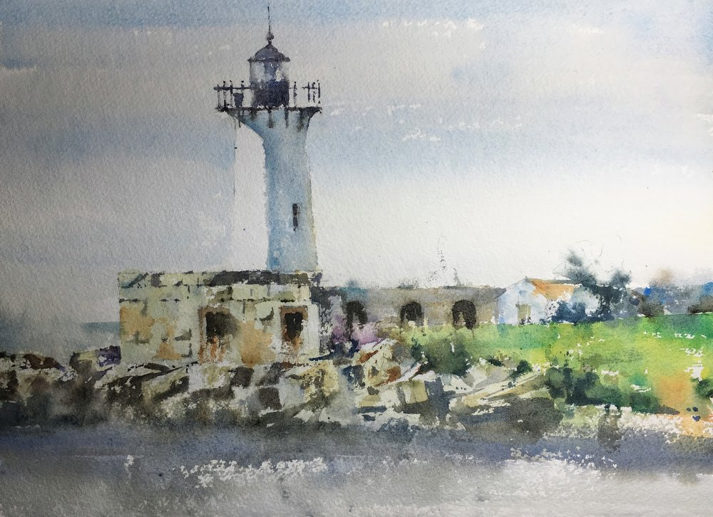 "Kittery Lighthouse.  Michele Clamp.  Watercolor 11""x14"""