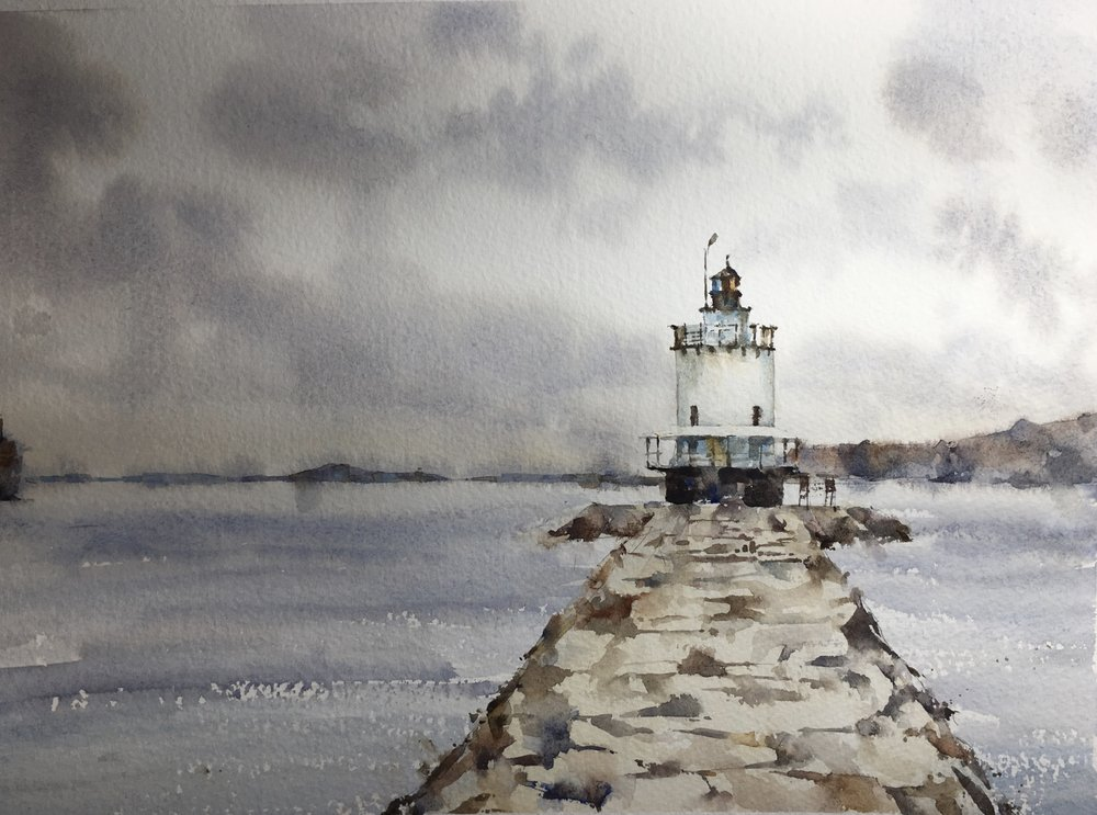 "Maine Lighthouse. Michele Clamp. Watercolor 11""x14"""