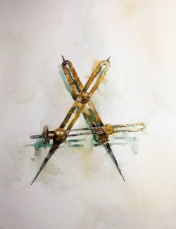 "Brass Callipers. Watercolor. 14""x11"""