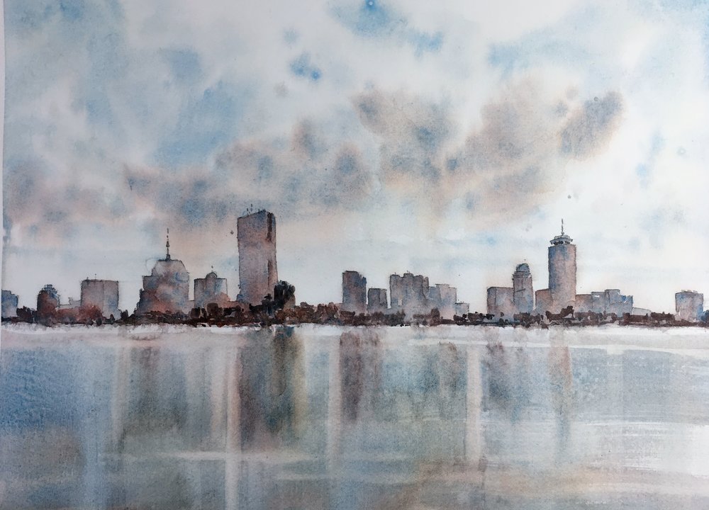 "Boston skyline.  Michele Clamp.  Watercolor.  11""x14"""