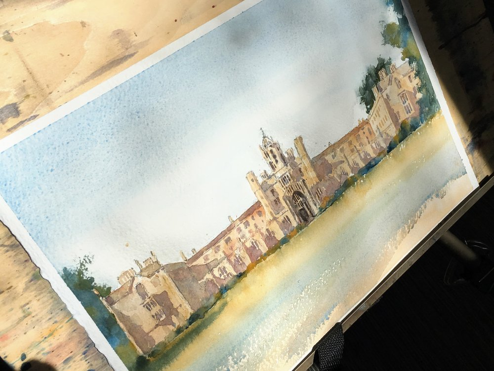 "St John's College, Cambridge. Michele Clamp. Watercolor. 11""x14"""