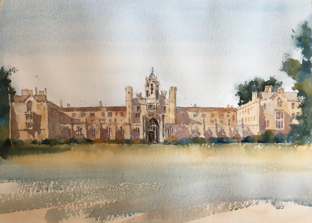 "St John's College, Cambridge. Michele Clamp. Watercolor 11""x14"""