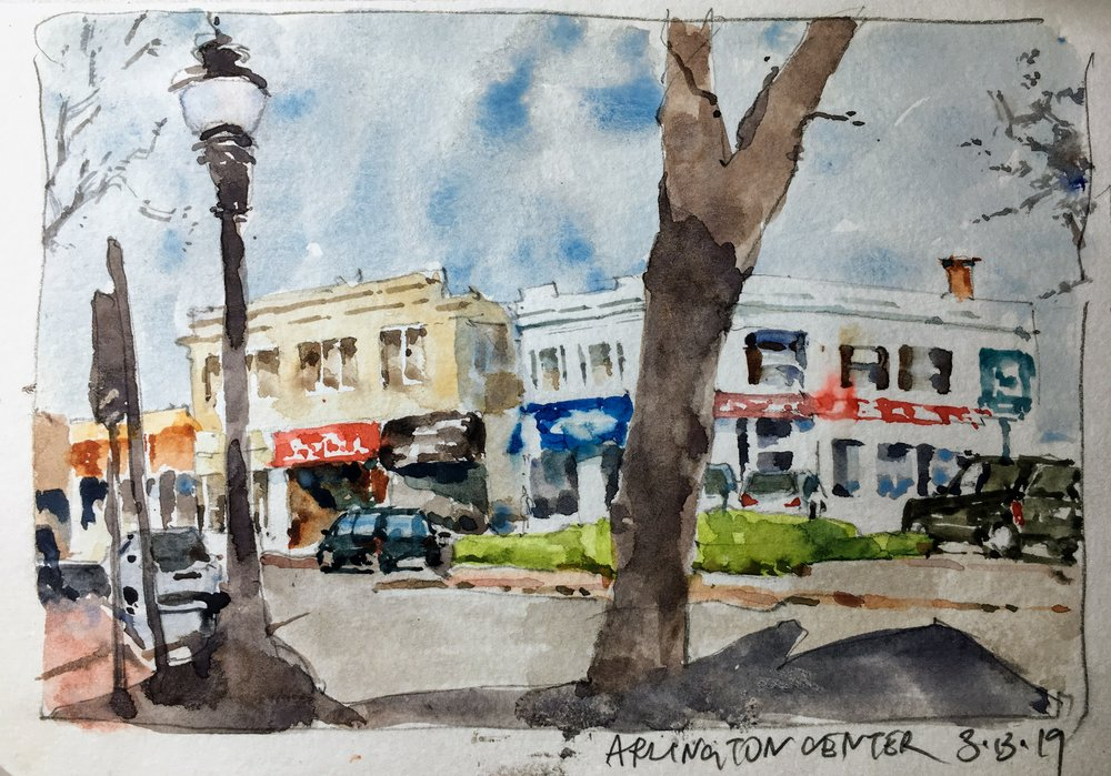 "Sketch of Arlington Center.  Michele Clamp.  Watercolor.  5""x8"""