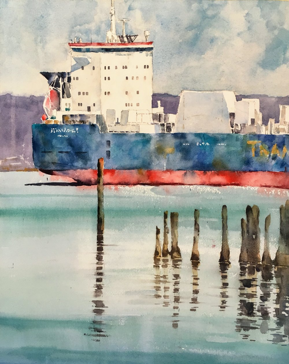 "Portsmouth, NH. Michele Clamp. Watercolor. 19""x13"""