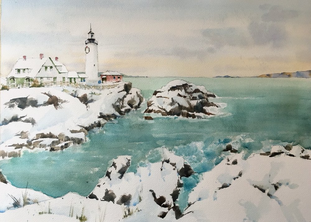 "Portland head lighthouse.   Michele Clamp. Watercolor.  13""x19""."
