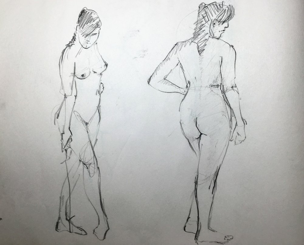 Life drawing.  Michele Clamp.  Conte pencil on newsprint.