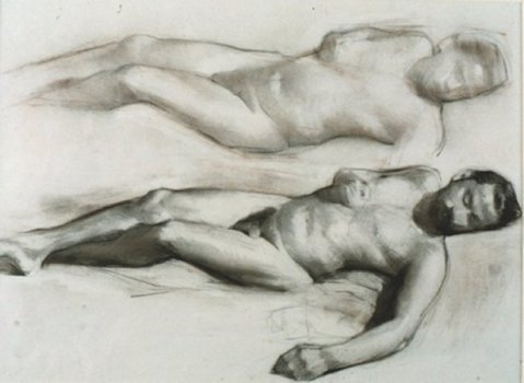 Reclining Male Figure (Study for Execution), charcoal, 1991
