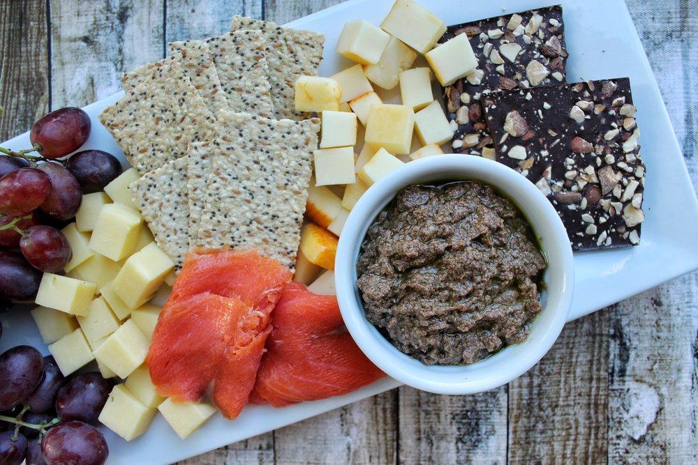 Cheese + Cracker Board with Filippo Berio Olive Pesto Dip