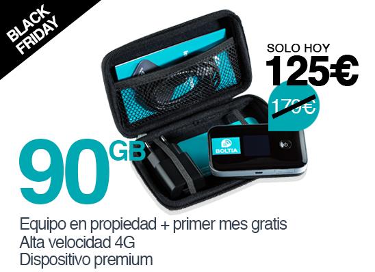 Boltia Pack Premium 90GB - Dispositivo en propiedad con el primer mes de datos (90GB) gratis.Equipo premium con pantalla informativa, batería el doble de duradera y mayor rango de conexión. Válido en España.Recargas de 90GB por 79€ al mes.