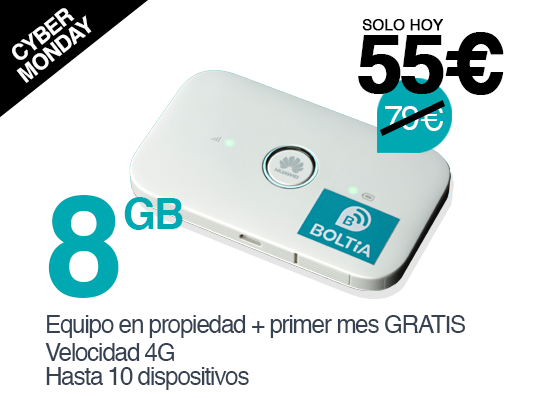 Boltia Pack Economy 8GB - Dispositivo en propiedad con el primer mes de datos (8GB) gratis.Válido en España y Unión Europea (+ Noruega, Islandia y Liechtenstein)Recargas de 8GB por 19€ al mes.