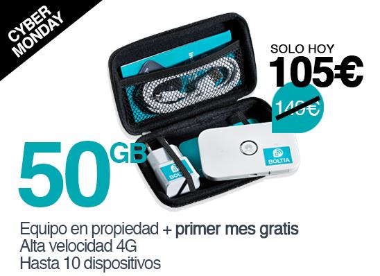 Boltia Pack 50GB - Dispositivo en propiedad con el primer mes de datos (50GB) gratis.Válido en España.Recargas de 50GB por 39€ al mes.