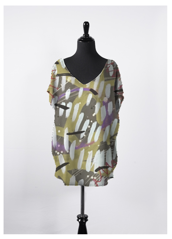 """Jessamina"" Front-printed Silk Blouse"