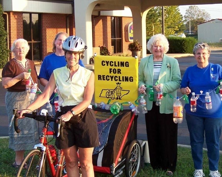 Marge Davis poses with members of the Camden Garden Club during the statewide Cycling for Recycling tour to raise awareness of the benefits of a beverage container deposit.
