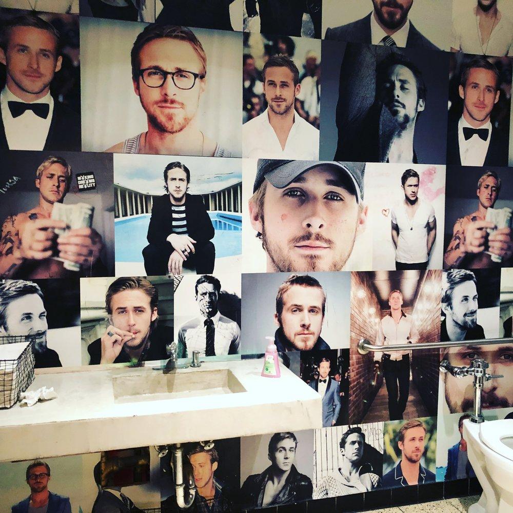 The Ryan Gosling bathroom stall at Bang Bang.