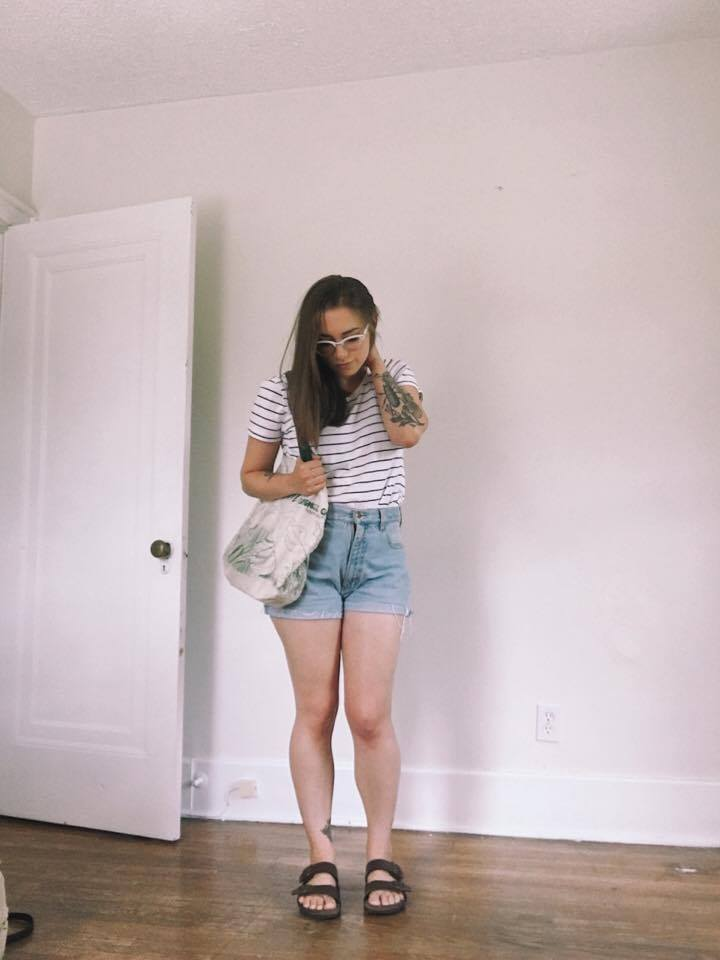 Top: Thrifted / Shorts: Thrifted / Shoes: Birkenstocks / Tote: Purchased last fall at a market in Napa