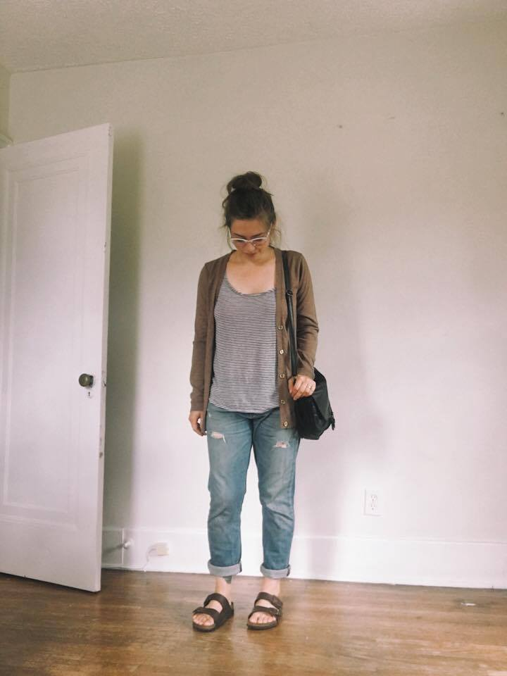 Top: Thrifted / Cardigan: Thrifted / Jeans: Secondhand Rag & Bone, via Slowre / Shoes: Birkenstocks / Bag: Thrifted