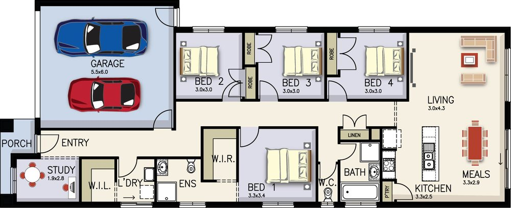 Clara Floor Plan by  Yum Homes