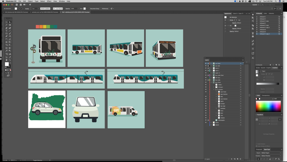 public transportation and carpooling graphics in progress