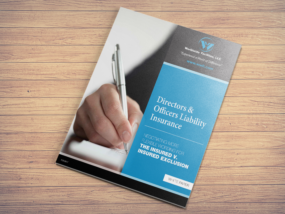 White paper cover for Worldwide Facilities, LLC | designed under 816 New York direction