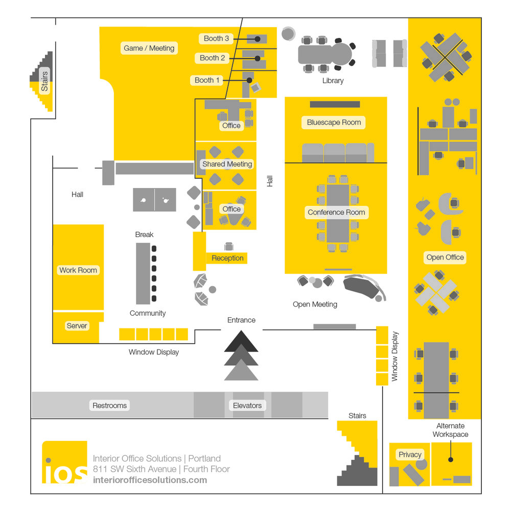 Showroom map for Interior Office Solution's Portland Showroom Opening
