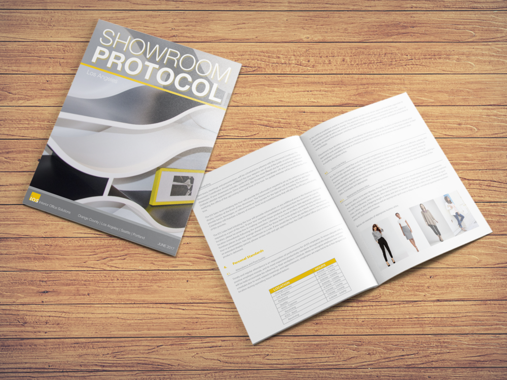 Interior Office Solutions Showroom Protocol book, InDesign 2017