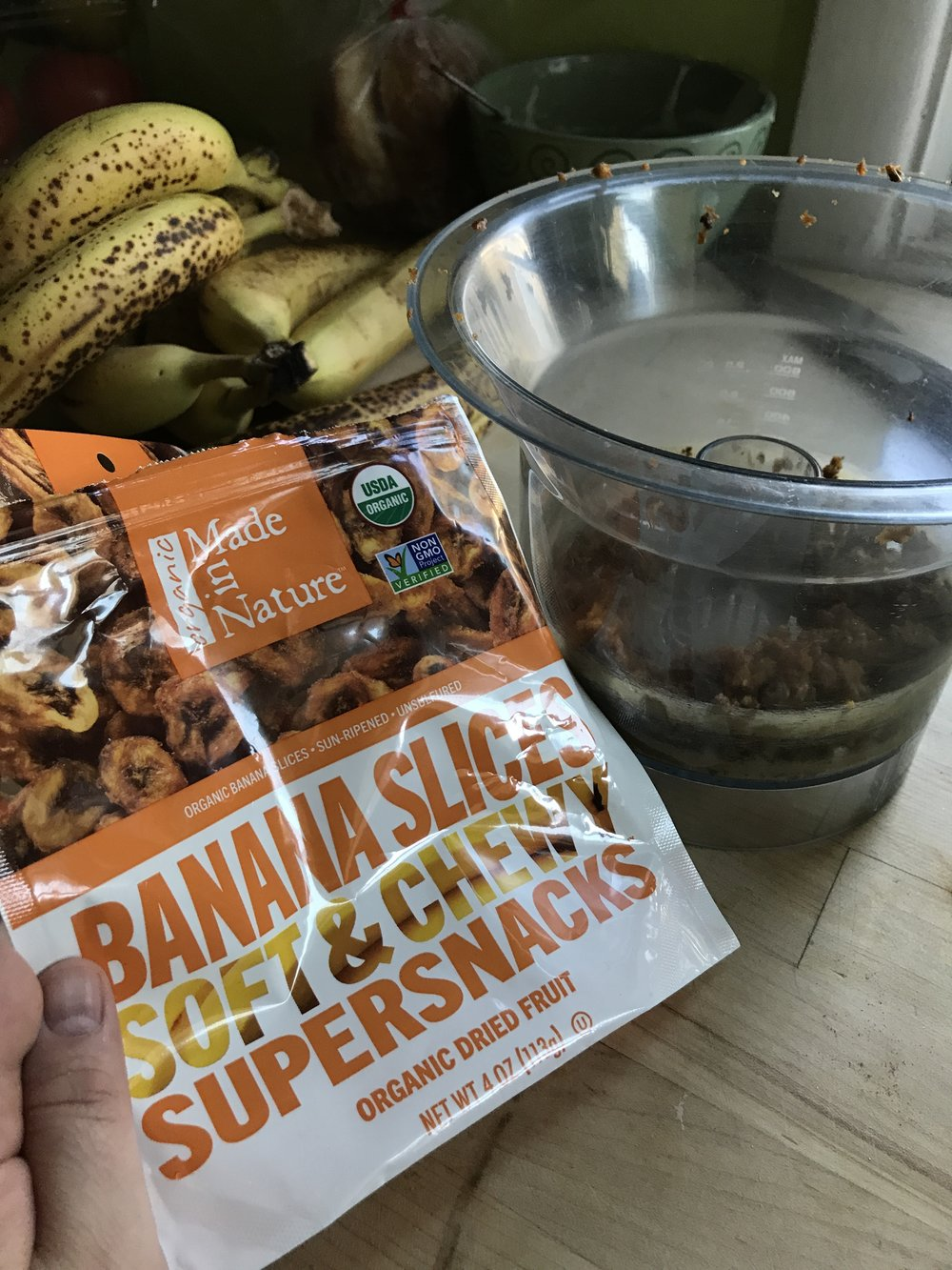 If you can't find soft and chewy dried bananas, I think the crunchy banana pieces will work well too...briefly rehydrated in a couple tablespoons of hot water.