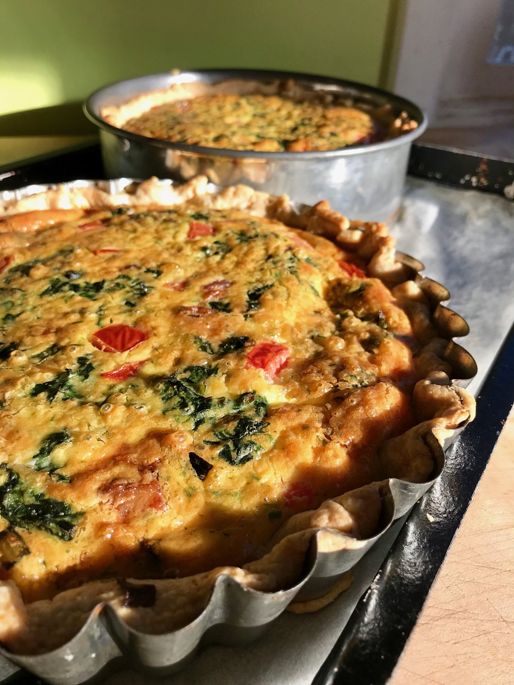 Tale of Two Quiches - Roasted Vegetable Quiche and AppleWood Bacon Quiche