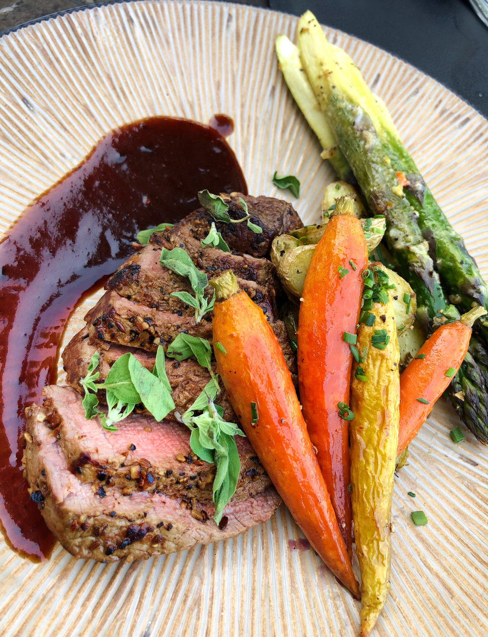 Beef Tenderloin with Port Demi, Honey Roasted Carrots & Garlic Asparagus