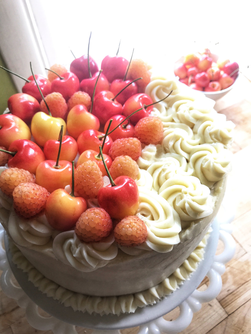 Fresh Cherry Buttermilk Layer Cake w/Mascarpone Buttercream