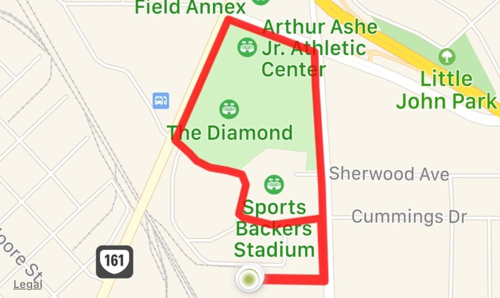 Our 1.5 mile route.