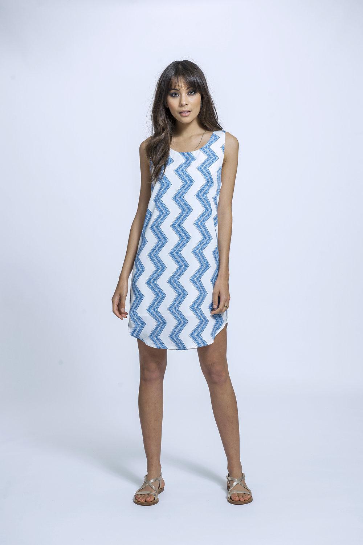 Ingrid Dress | Blue Zigzag