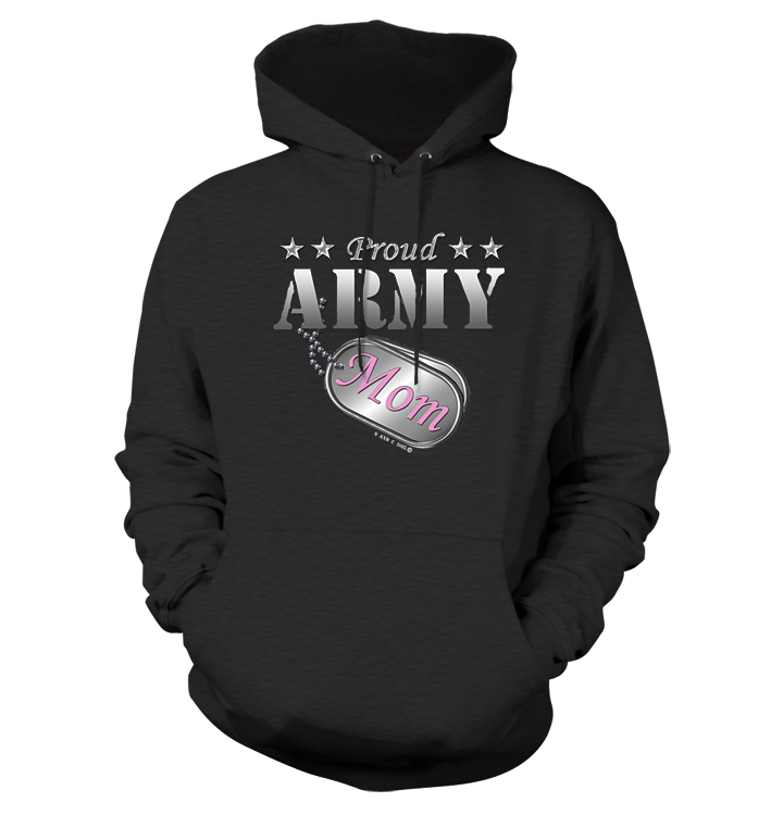 Proud Army Mom Cotton Pullover Hoodie dqWHxh
