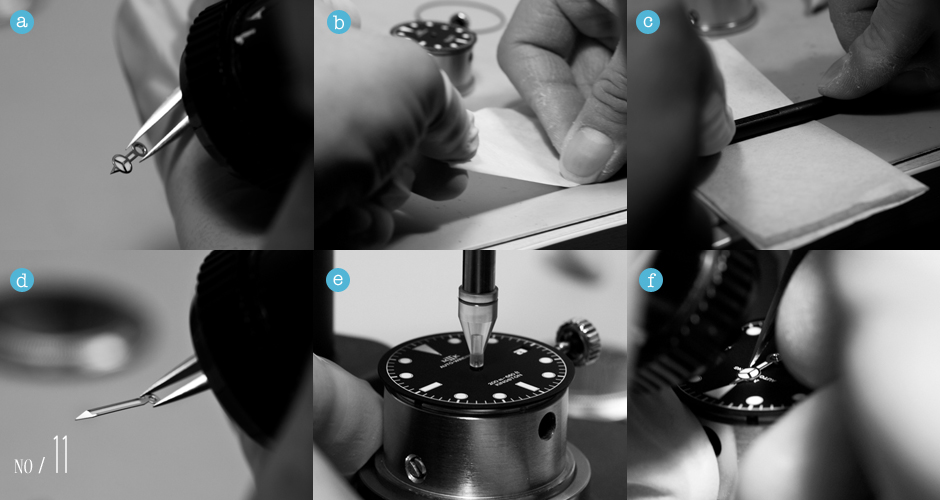 (a) Re-checking the hands for scratches, (b) bending the hour hand to travel parallel to the dial when installed, (c, d) putting a curve into the minute and seconds hand so that the custom red tipped sweep hand will clear the crystal, (e) adjusting the hand setter to the 2836-2, (f) setting the hour hand