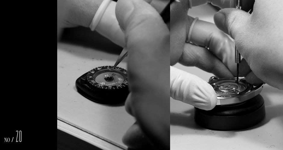 One of the casing clamps became magnetized through static electricity. Here we are verifying that it has been successfully de-magnetized before installing it into the watch.