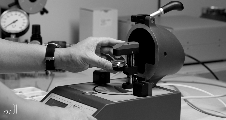 Every watch we send out is individually verified for its rated water resistance. By this point in the process the case has already been tested at least three times and undergoing its fourth and fifth tests.