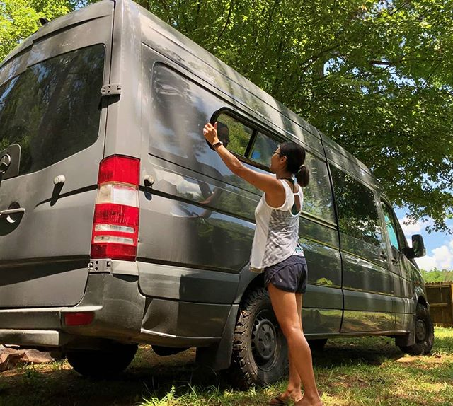 Today's the day!  About to cut another giant hole into the sheet metal of a perfectly good van....for a rear slider window!  What could possibly go wrong???? . . .