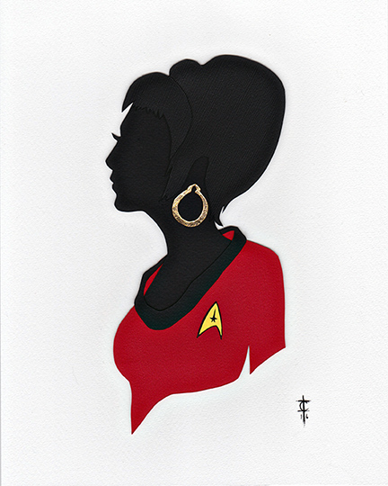 UHURA  Hand cut paper, gold leaf
