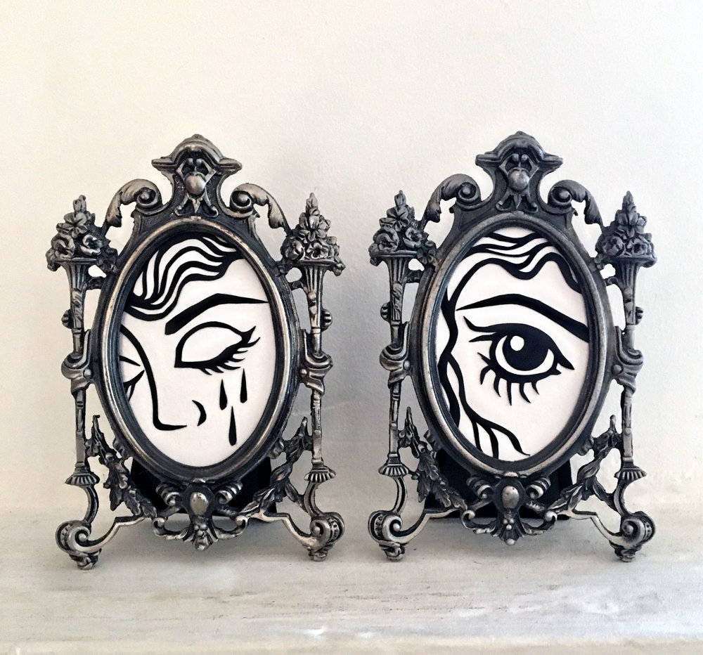 "Lover's Eye I & II  Hand cut paper Cactus Gallery ""Tiny Treasures"""