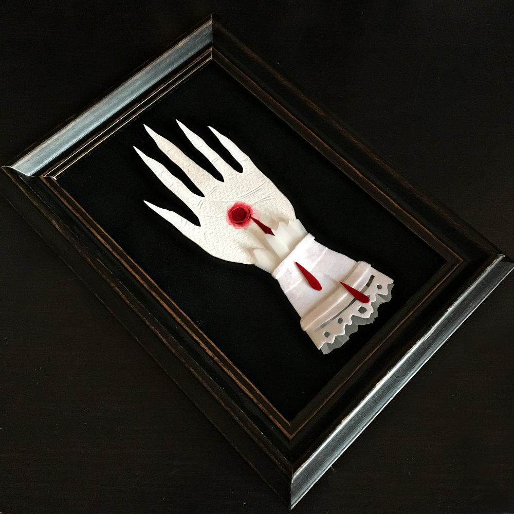 """Stigmata   Hand cut paper, vellum and watercolor Future Gallery """"Pocket Sized Paintings"""""""