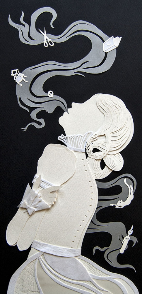 "Suspiro  Hand cut paper and vellum The Mystic Museum ""Hereafter Hauntings"""
